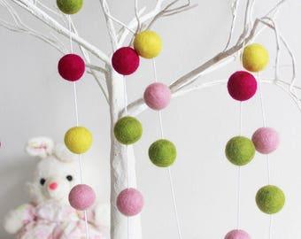 Felt ball garland, Pom pom garland, Mulltioloured felt ball, Party garland, Children felt ball, Easter decor, Nursery Decor, Kids Room Decor