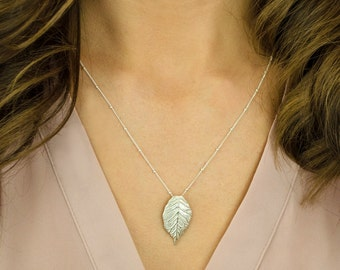 Leaf layering necklace - gold Leaf necklace - layered necklace - silver Leaf necklace - long Leaf necklace - leaf jewelry - oxidized silver