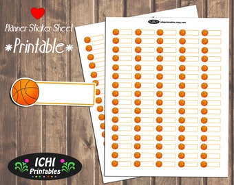 Basketball Printable Planner Stickers, Basketball Planner Stickers, Basketball Game Practice Appointment Label, Print & Cut, Functional