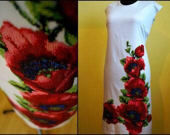 Bead embroidery, ukrainian embroidery, modern embroidery, embroidered dress, handmade dress, designer dress, beads, beadwork, beaded
