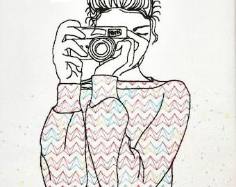 Camera Girl Machine Embroidery Design 4x4 5x7 Instant Digital Embroidery Design