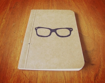 Nerd Glasses Notebook, Pocket Journal, Original Handmade Mini Diary and Jotter, Stationery Notepad, Stamp Illustration