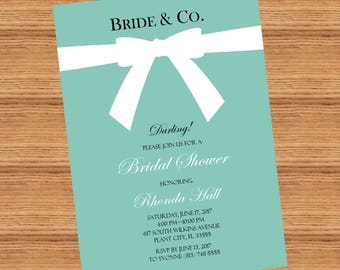 Themed bridal Shower Invitation, Breakfast at Tiffany's Bridal Shower Invitation, Printable
