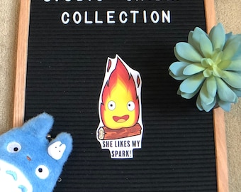 Calcifer She Likes My Spark! // Howl's Moving Castle Studio Ghibli Collection 4x6 Sticker