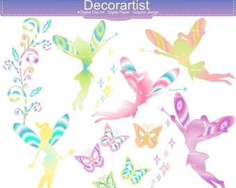 ON SALE Rainbow Fairy Clip Art _ Rainbow Fairy Clipart. Rainbow Clipart,Fairy Clipart,Fairy Rainbow,Fairies,Fairy, fairy star , INSTANT Down