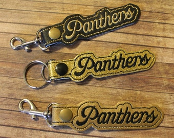 Key Chains, Zipper Pulls, Panthers, Handmade, Embroidered, Key Fob, gift, School mascot, Student