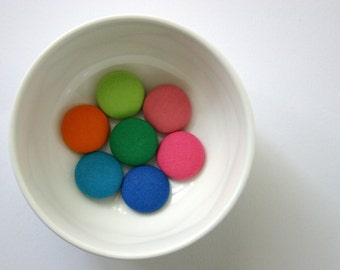 Fabric Covered Handmade Buttons - Mixed Set of 7 - 23 mm - 7/8 inch - Rainbow Brights Handmade Fabric Buttons