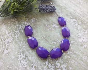 Purple Necklace -Chunky Necklace - Statement Necklace- Purple and silver weddings- Bridesmaids necklace