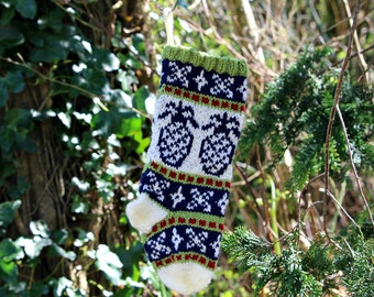 Pineapple Christmas stocking, Fair Isle Christmas Stocking, Knit Christmas stocking, Green Ornament, Fairisle Christmas, - SRGRB
