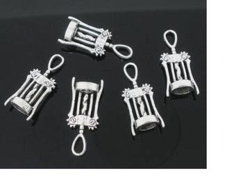 Corkscrews 3D charm is silver plated antiqued (x 4)