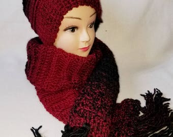 Red and black scarf set, scarf and hat set, winter set