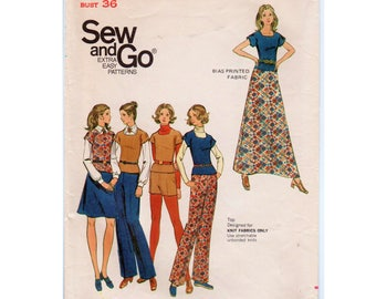 "A-line Skirt Pattern Maxi Skirt Pattern Retro Shorts Pattern 1970s Pants Pattern BUTTERICK 6741 bust 36"" Square Neck Top 1970s Fashion"
