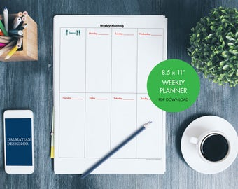 Weekly Planning Sheet (undated) with Full Columns & Menu section // instant download, printable, weekly planner, 8.5x11
