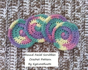 CROCHET PATTERN - Crochet Round Facial Scrubbies - Easy Crochet Pattern  PDF - Permission to Sell Items