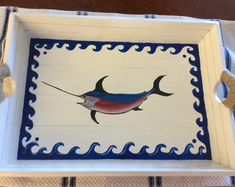 White Wooden Tray with Swordfish Painted on Top