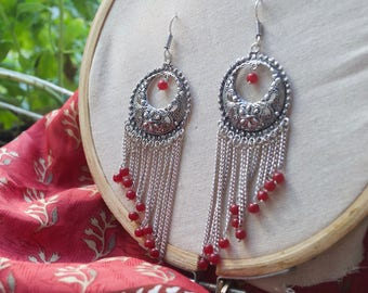 Long Dangle Earrings. Red Beads Earrings. Gypsy Earrings. Tribal Earrings. Red Earrings. Festival Earrings.