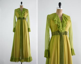 vintage 1960s green dress | 60s chiffon dress | 1960s evening gown | 60s long sleeve dress