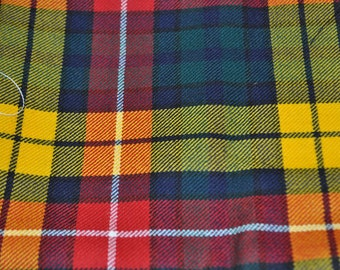 Buchanan Tartan Fabric. Modern Available. 100% 10oz Pure New Wool. Remnant Piece.