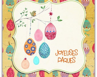 Happy Easter card with envelope 13.5 cm x 13.5 cm