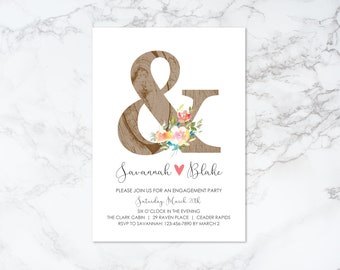 Printable Wood Texture Ampersand with Watercolor Floral Engagement Invitation