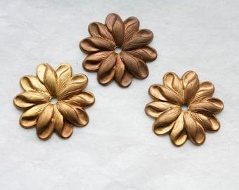 4 Vintage Brass Flowers // 1950s