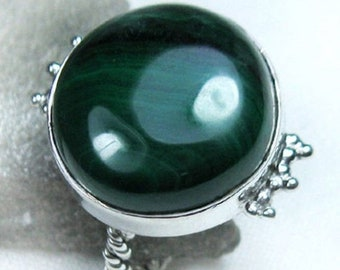 ON SALE Malachite Cab, Solid 925 Sterling Silver Handmade Gemstone Ring, Size-7.5 US