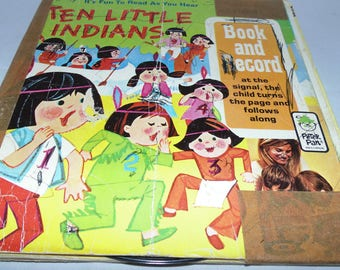 Vintage 1973 Ten Little Indians Book and Record Peter Pan Records 45 rpm