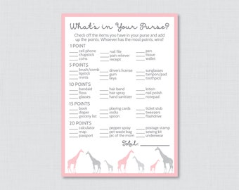 Giraffe Baby Shower What's in Your Purse Game - Printable Instant Download - Girl Baby Shower Game Pink and Gray - 0011-P