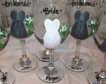 Bride Glass, Wedding Glass, Bridal Party, Bridesmaid Glass,  Personalized Bridesmaides, Maid of Honor and Bride Wine Glass