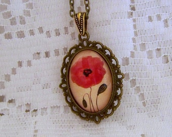 Red Poppy Necklace, Red Poppy Pendant, Jewelry Art Glass Pendant, Flower Nature , Wearable Watercolor Art Glass Pendant, Antiqued Bronze
