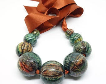 Emerald green and orange necklace, Beaded Necklace, Statement necklace, Handmade jewelry, Decoupage necklace, Chunky necklace, Gift for her