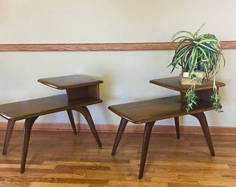 Midcentury Pair of Heywood Wakefield End Tables,