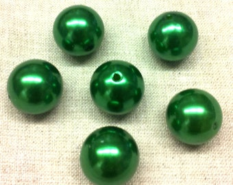 Set of 6 large acrylic beads - dark green Pearl - 20 mm T42