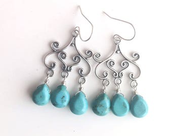 Catonia Turquoise Chandeliers, turquoise earrings, gemstone earrings, blue earrings, Special Introductory Price