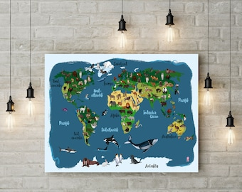 illustration - worldmap: Animals around the world