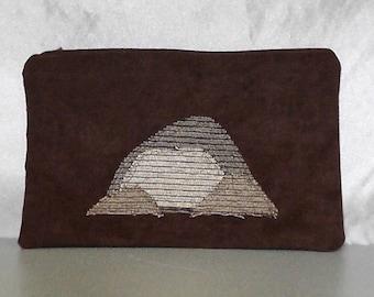 Täschchen - Berge auf braun große Reißverschluss Tasche Travel Bag Geschenk Tasche Hippie natürliche Upcycled