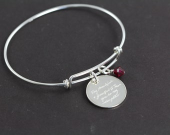Engraved Handwriting Jewelry Pendant Bangle Bracelet, 925 Sterling Silver Jewelry , Valentine's Gift