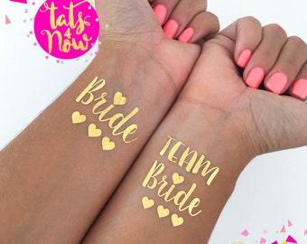 Gold Team Bride, temporary tattoo, Bachelorette Party tattoos Bachelorette tattoos gold bachelorette, bride tattoo