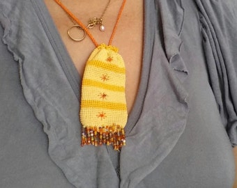 Yellow Drawstring locket for Keys, Lip Balm Holder, gold, beads embroidery, pregnancy accessory, sunshine, neck pendant for kids, purse