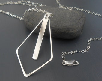 Long Sterling Silver Geometric Pendant Necklace