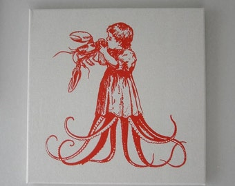 Starving Child Eating Juicy Lobster silk screened natural canvas wall hanging 16x16 tomato red