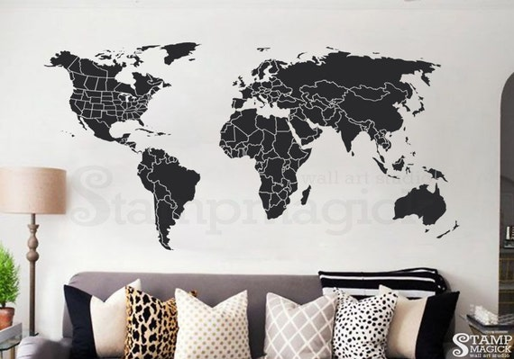 World map wall decal countries united states map canada world map wall decal countries united states map canada province wall art chalkboard black white board dry erase border boundary usa k430 sciox Choice Image