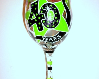 40 Years Old Happy Birthday Hand Painted Wine Glass Name Age Personalized Custom Balloons Telephone Star Any Year or 40 Years of Service