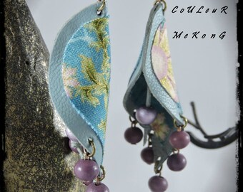 SOLD - Earrings - color MEKONG - light blue leather / grey - multicolored fabric with dominant - teal beads
