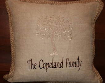 Embroidered Personalized Willow Tree Pillow