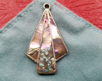 Vintage stamped artisan silver pendant with inlaid abalone shell from Alpaca Mexico
