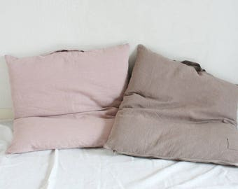 Large Linen Floor Cushion,Rose brown / Dusty pink