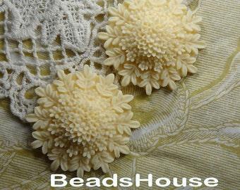 Last 10% 676-00-CA  2pcs Beautiful Colorful Bouquet Flower Cabochon,Lt Ivory