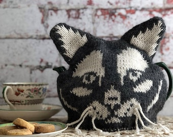 Tea cosy knitting pattern, knitting patterns, pdf, knitting, hand knit tea cosy, cat, kitty, hand knitted, patterns, gifts for knitters