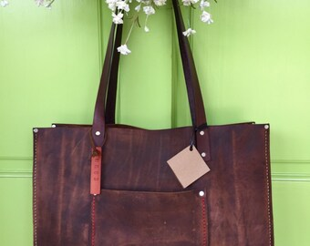 Shorty Kodiak Leather Tote* Brown Leather Tote* Distressed Leather Tote* Distressed Market Bag* Handmade in the USA